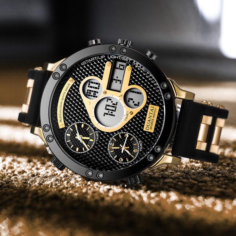 Мужские новые модные Многофункциональные цифровые часы большого размера с тремя часовыми поясами и подсветкой, спортивные мужские часы ...