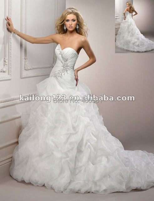 Chic Sweetheart Chapel train Crystal Beaded Ruched Pick Up Organza ...