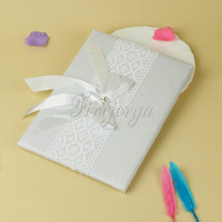 29cm X 21cm White Romantic Wedding Guest Book With Satin Ribbon Lace Bow Rhinestone For Wedding