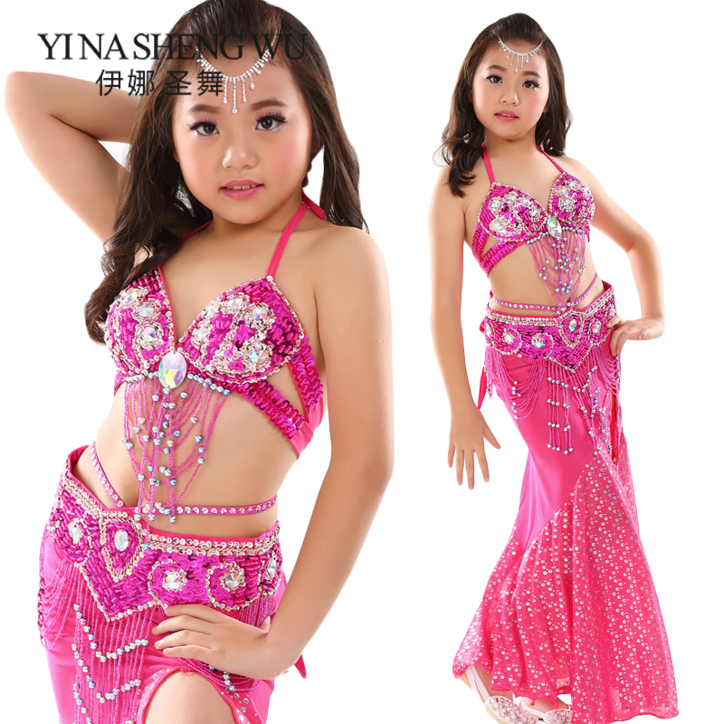 Top Grade Children Belly Dance Clothing Oriental Dance Outfit Bra Belt Skirt Kids Belly Dance Professional Performance Costumes