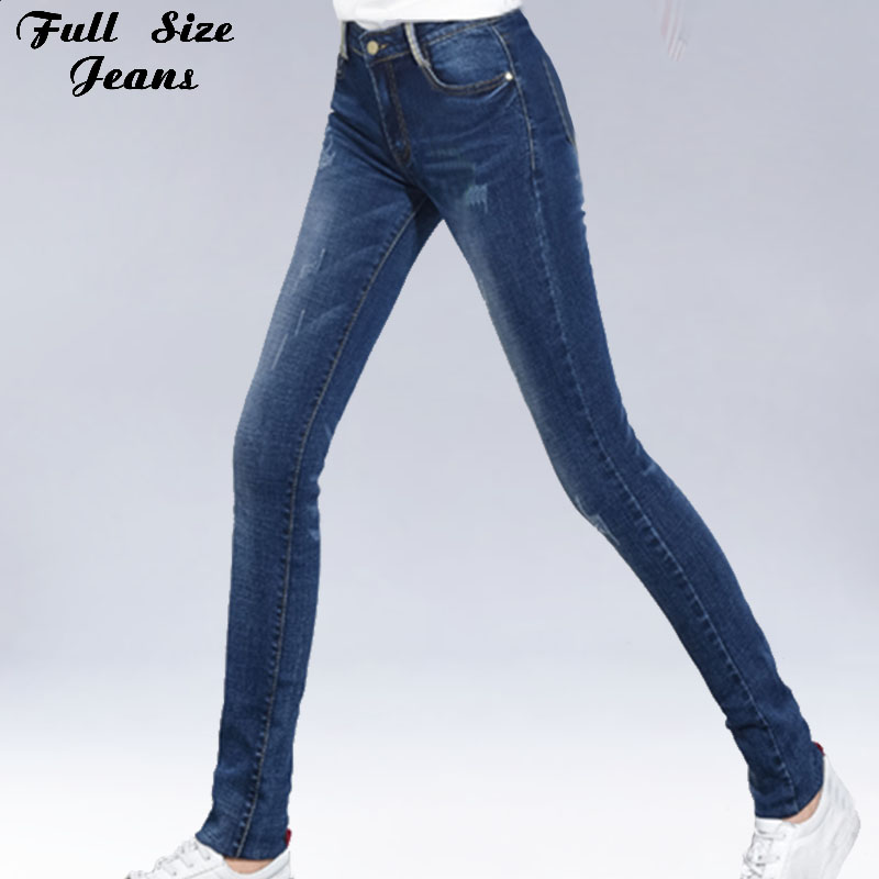 Extra Long Blue Stretch Skinny   Jeans   For Tall Girl 4XL 5XL 6XL Plus Size Extended Long Denim Casual Pencil Pants Taller Ladies