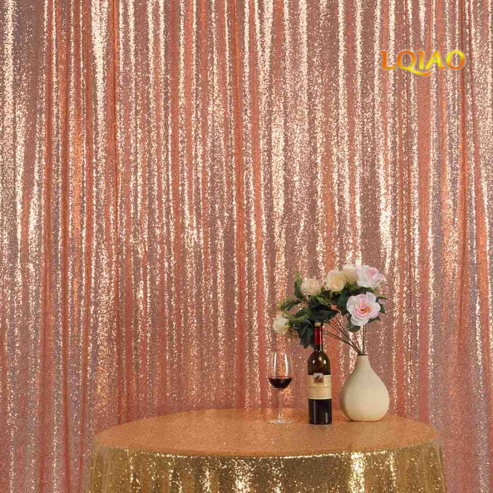 Perfectly 10FTx10FT Glitter Rose Gold Sequin Fabric Background Photo booth Backdrop Wedding Curtain For Christmas/Wedding Decor window valance