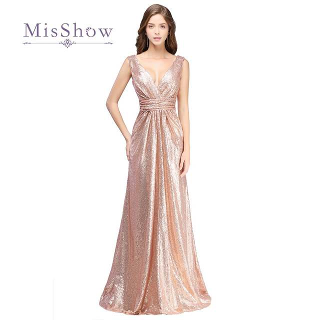 Online Shop Rose Gold Sequin V Neck 2018 Bridesmaid Dresses Maxi Long Robe  de Soiree Maid Of Honor Gowns For Weddings Guest  201fa50e8ca4