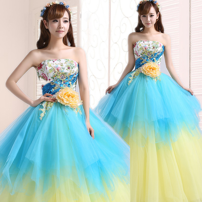 Ball Gown Embroidered Wedding Dress: Blue And Yellow Flower Embroidery Prom Dresses 2016 Tulle