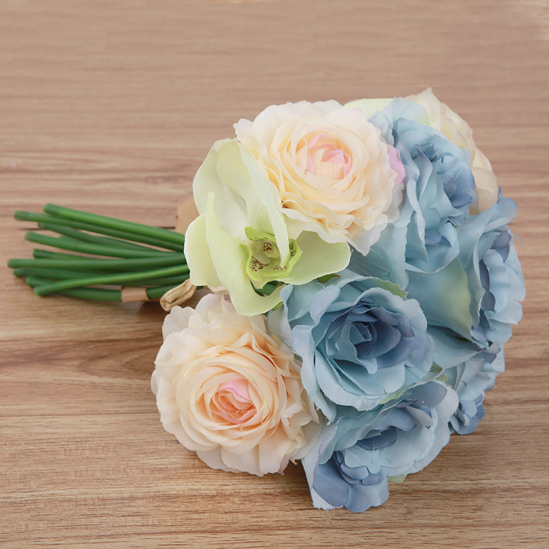 Silk wedding bouquets wholesale artificial royal blue silk rose new butterfly orchid rose bunch of simulation flower wholesale artificial flowers wedding bouquet home decoration mightylinksfo Choice Image