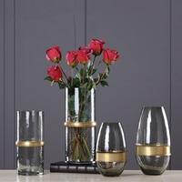 Vintage Style Glass Tabletop Plant Bonsai Flower Wedding Decorative Vase Metal Tray Home Decoration Accessories