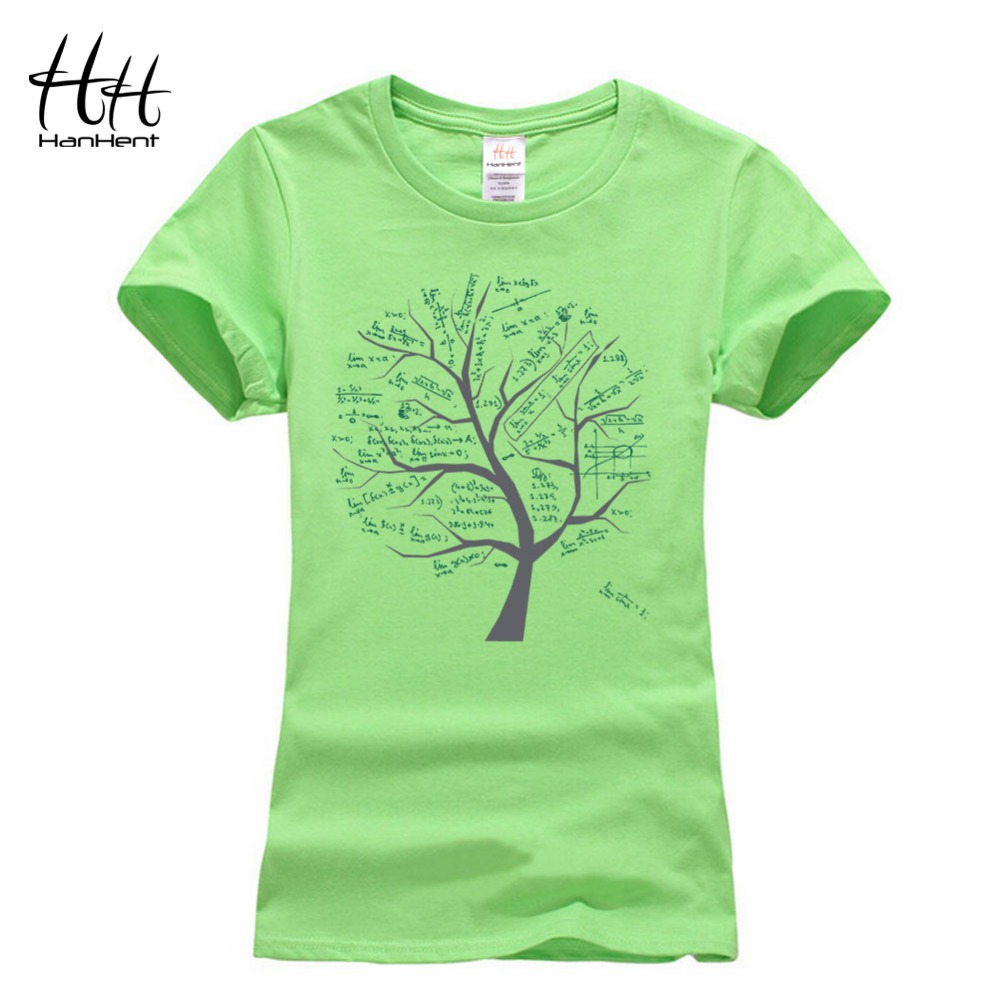 HanHent Women's Math Trees Funny T shirts Women 2016 Fashion Cotton The Big Bang <font><b>Theory</b></font> Tshirt Cute Geek T-shirt Female Summer