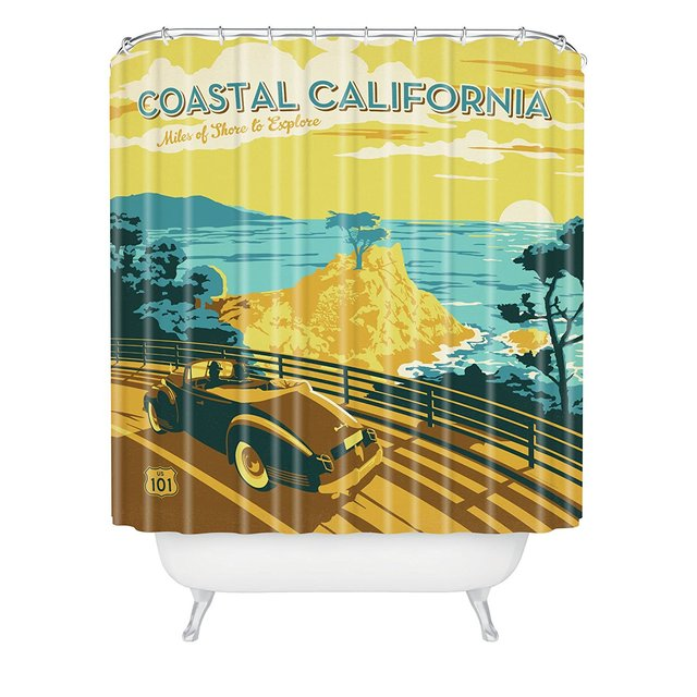 WARM TOUR Anderson Design Group Coastal California Shower Curtain Polyester Hospital Hotel With Hooks