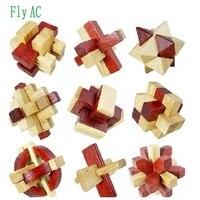 Fly AC 9 Pcs Set 3D Handmade Vintage Ming Lock Luban Lock Wooden Toys For Children