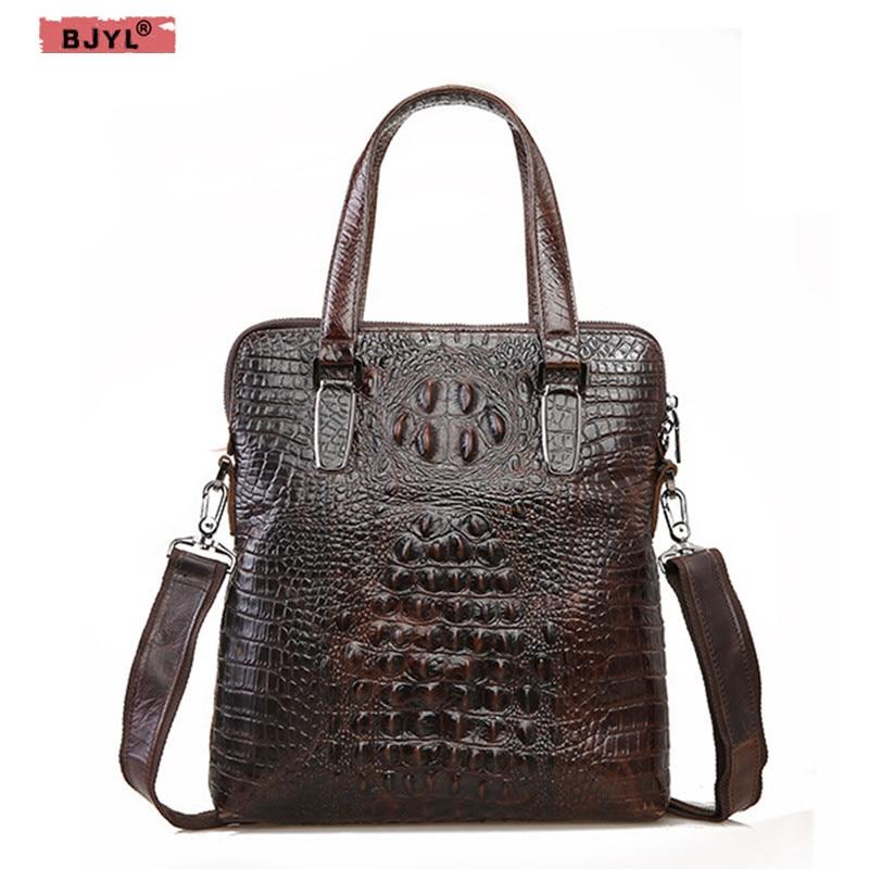 BJYL Crocodile pattern Men handbag vertical briefcase business men crossbody bag top layer leather retro shoulder Messenger bag