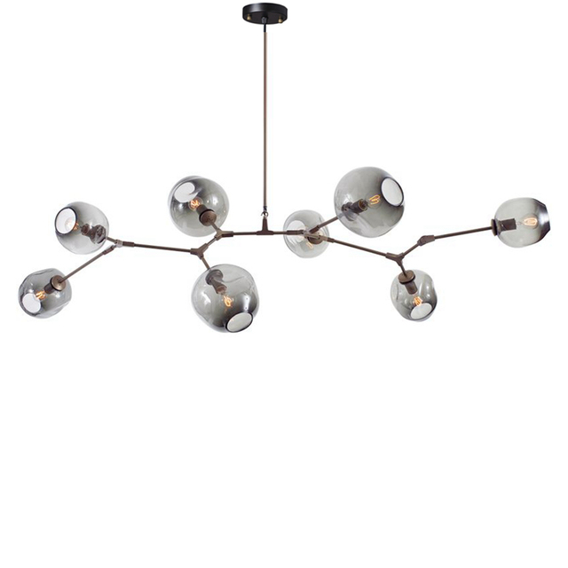 Modern 7 head 8 light Chandelier light Globe Branching glass Bubble ...