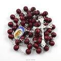 Мода круглый бусины роза душистые древесины бусины католическая розария ожерелье wiht распятие крест и фатима