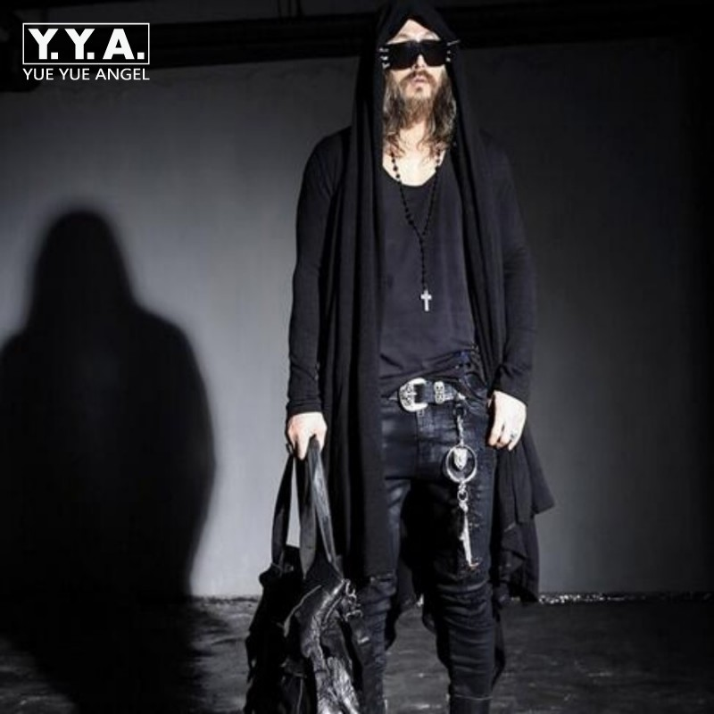 YueYueAngel Spring Avant-garde Boys Men's Punk Gothic Long Cloak Causal Loose