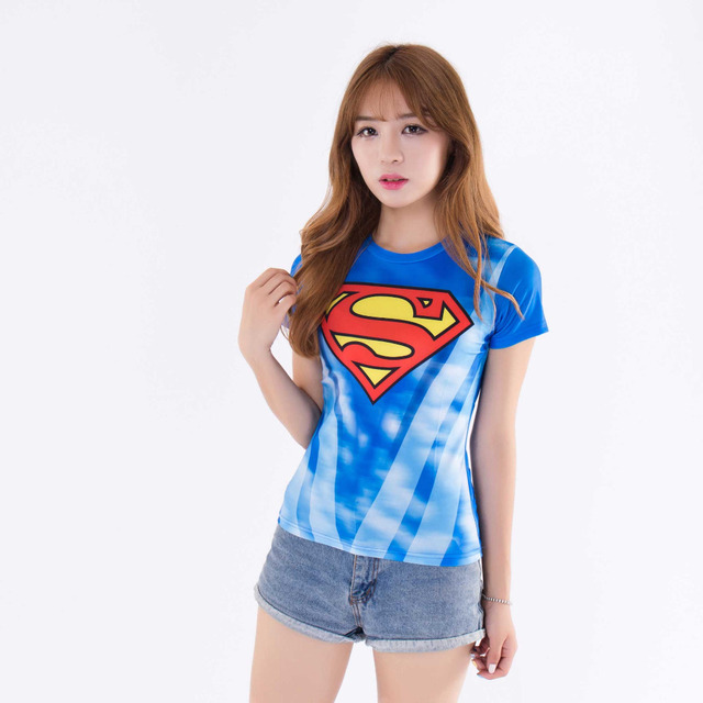 Marvel superman women shirt fitness crossfit short sleeve t shirt bodybuilding tops clothing