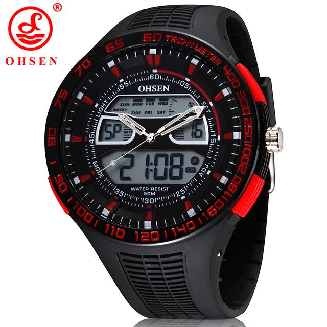 2017 nueva ohsen marca digital analógico led reloj cronógrafo alarma backlight hombres deportes relojes de cuarzo militar reloj de pulsera de moda