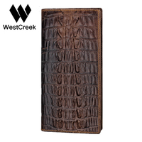 Unique Design Crocodile Pattern Genuine Leather Men Long Wallet Cheap By GMW004