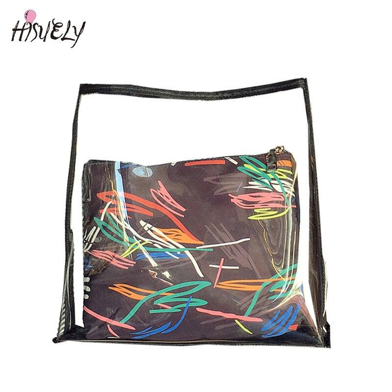2 스타일 투명 복합 가방 틴 에이저 걸즈 비치 가방 여성 젤리 가방 새 스위트 레이디 숄더 가방 투명한 핸드백