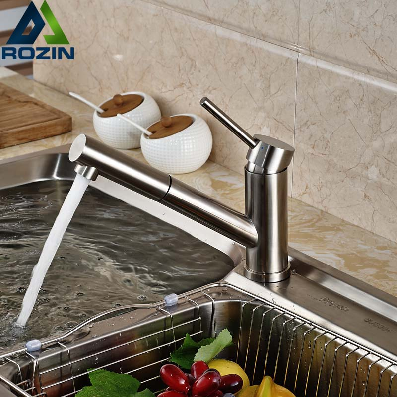 Luxury Pull Out Sprayer Kithen Faucet Nickel Brushed Single Lever Kitchen Sink Mixer Taps Deck Mount