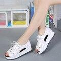 2017 de las mujeres sandalias de verano sandalias de las cuñas de sandalias de plataforma sandalias de gladiador cremallera punta redonda zapatos femeninos chanclas ML02