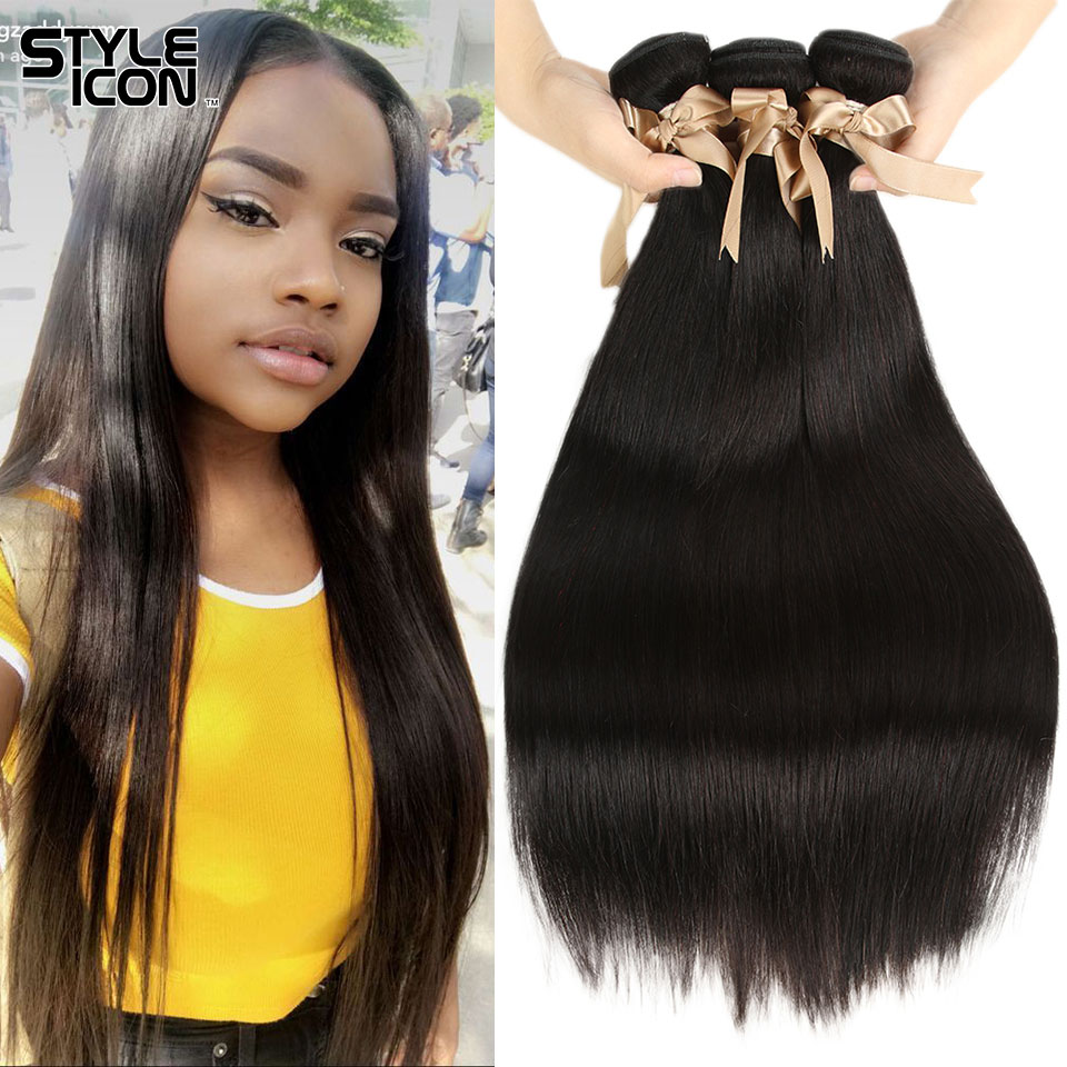 Styleicon 4 Bundles Straight Hair 100% Peruvian Straight Human Hair Weaving Non-Remy Human Hair Weft Double Wefts Tangle Free