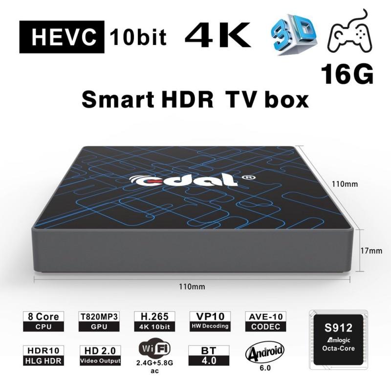 EDAL QII Android 6.0 Smart TV Box Amlogic S912 Octa Core CPU up to 2GHz ARM Mali-T820MP3 GPU 2 / 16 GB edal qii android 6 0 smart tv box amlogic s912 octa core cpu up to 2ghz arm mali t820mp3 gpu 2 16 gb