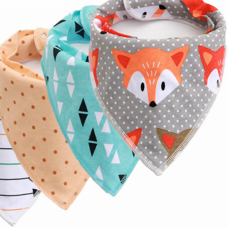 Infant Bibs Arrow Cloth-Print Burp Baby Triangle Cotton Meal-Bib Adjustable Wave