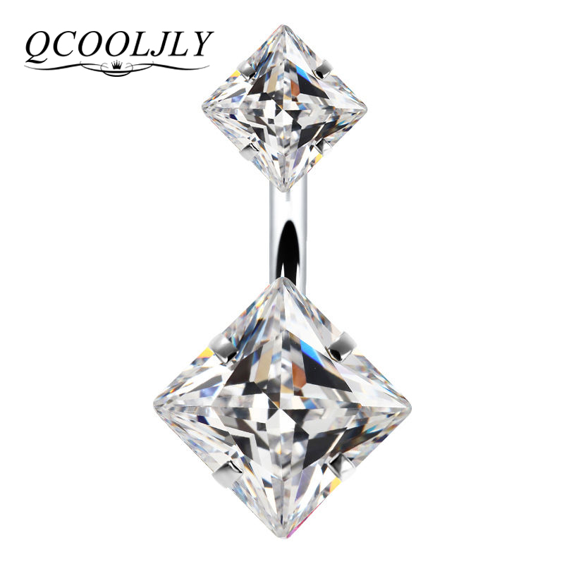 QCOOLJLY Rings Jewelry Navel-Piercing Belly-Button Crystal Umbilical-Nails Black-Color