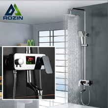 Digital Display Shower Faucet Water Powered Digital Display Shower Set Wall Mounted 8 Inch Rain Shower Head Tub Mixer Faucet