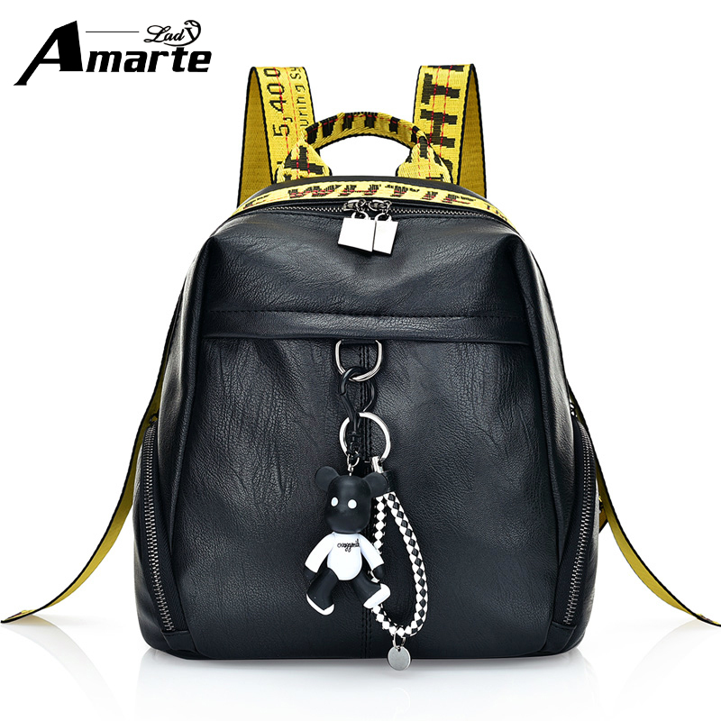 Amarte vintage women backpack leather PU school backpacks for teenage girls casual large capacity shoulder bags