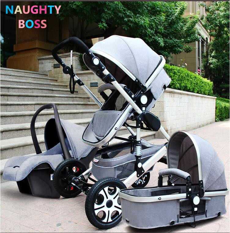 Baby Stroller 3 in 1 With Car Seat High Landscope Folding ...