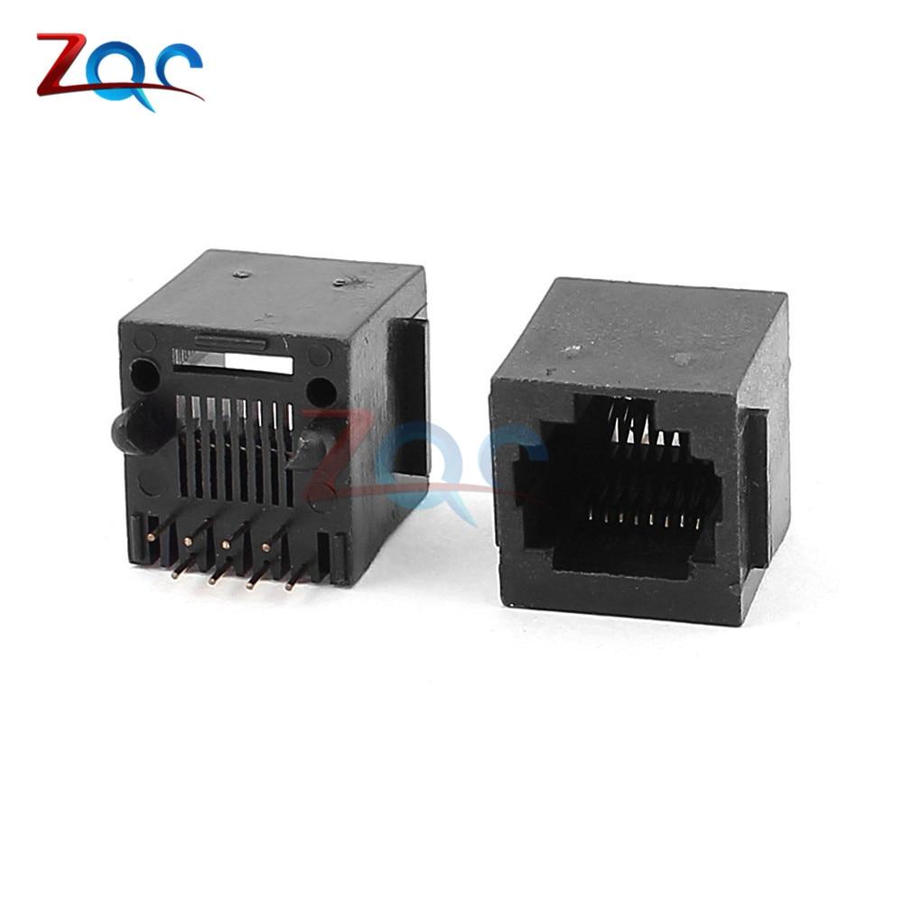 10Pcs Per Lot RJ45 Metal 8 Pin Female PCB Right Angle Board Jack Connector 8P8C Crystal Head Socket 18mm Network Interface