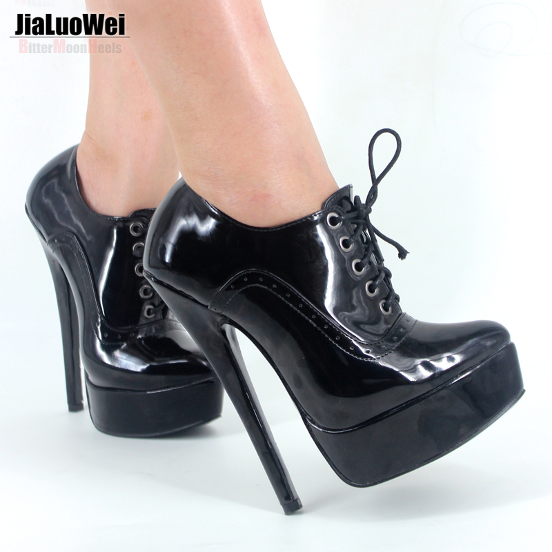 ФОТО Jialuowei NEW 18cm Heel Fettish Thin high heel Womens red bottom Pumps High Top Shoe Platform Stiletto Heels Lace Up