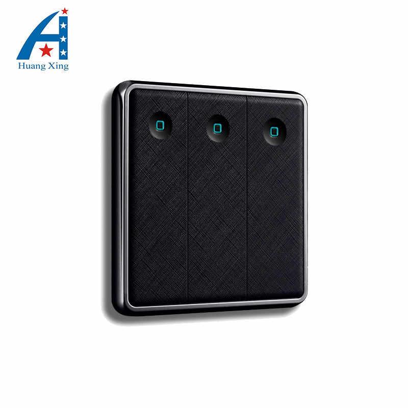 3 عصابة 2 طريقة المملكة المتحدة القياسية مفتاح لمبة شحن مجاني ، نمط جديد دفع زر الجدار التبديل 10A 220 فولت ، مشرق أسود الكهربائية التبديل