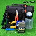 KELUSHI 15 unids/set FTTH Fibra Óptica Kit de Herramientas con FC-6S Fiber Cleaver y 10 mW Localizador Visual de Fallos De Fibra Óptica Stripper