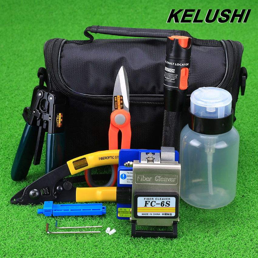 KELUSHI 15pcs set FTTH Fiber Optic Tool Kit with FC 6S Fiber Cleaver and 10mW Visual