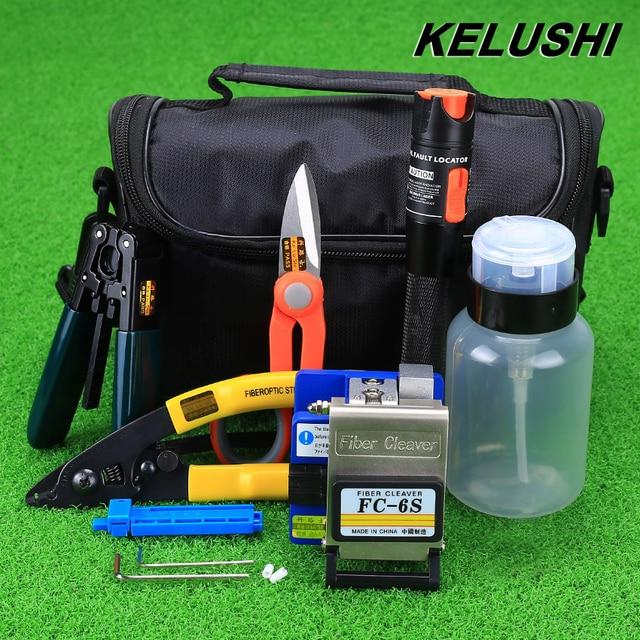 KELUSHI 15pcs/set FTTH Fiber Optic  Tool Kit with FC-6S Fiber Cleaver and 10mW Visual Fault Locator Fiber Optic Stripper