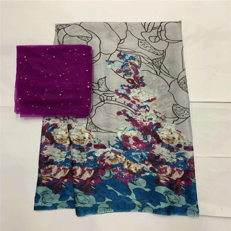 African morbido tessuto di seta per abbigliamento neat ricamo sul gold & viola materiale raso con merletto svizzero del voile tissu LXE071705-in Tessuto da Casa e giardino su  Gruppo 2