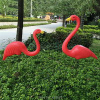 1pair Plastic Red Simulation Flamingo Garden Yard and Lawn Art Ornament Garden Decoration Ceremony Decoration 31 Height