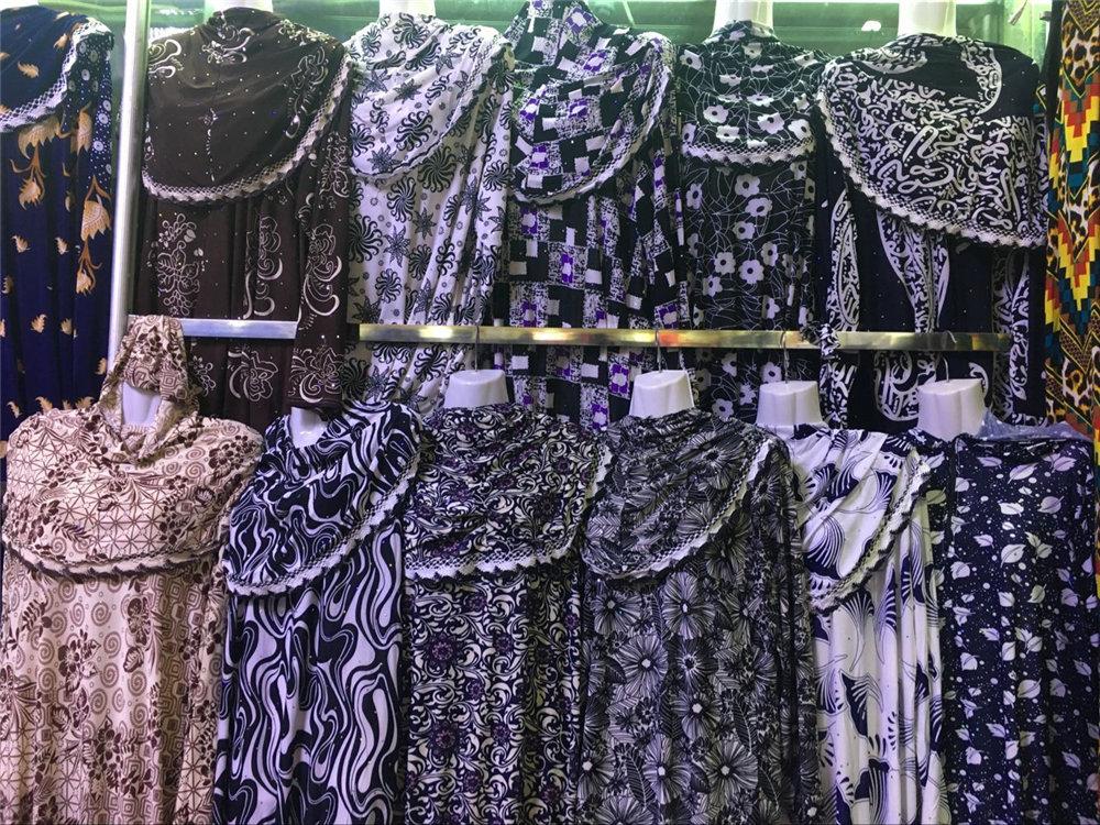 12 pieces lot hotsell Women printed Kaftan Muslim abaya Maxi Dress prayer clothing Islam hijab