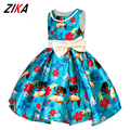 ZiKa New Moana Princess Girls Dress European Cartoon Baby Girls Dresses 2-8 Years Children Pearl Party Halloween Costume Clothes