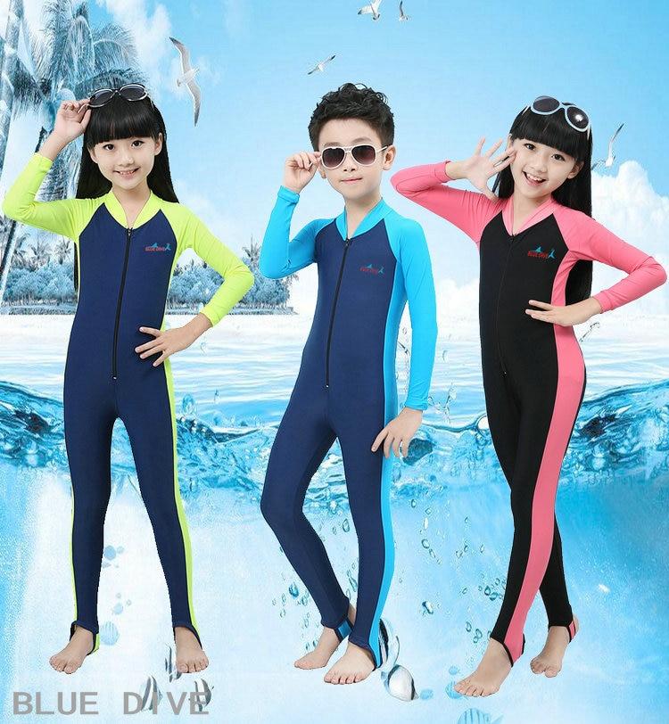 UPF50+ Lycra Long Sleeve Wetsuit Kids One Piece Swimsuit Diving Suit Boys Girls Surfing Bathing Suit Children Anti-UV Swimwear