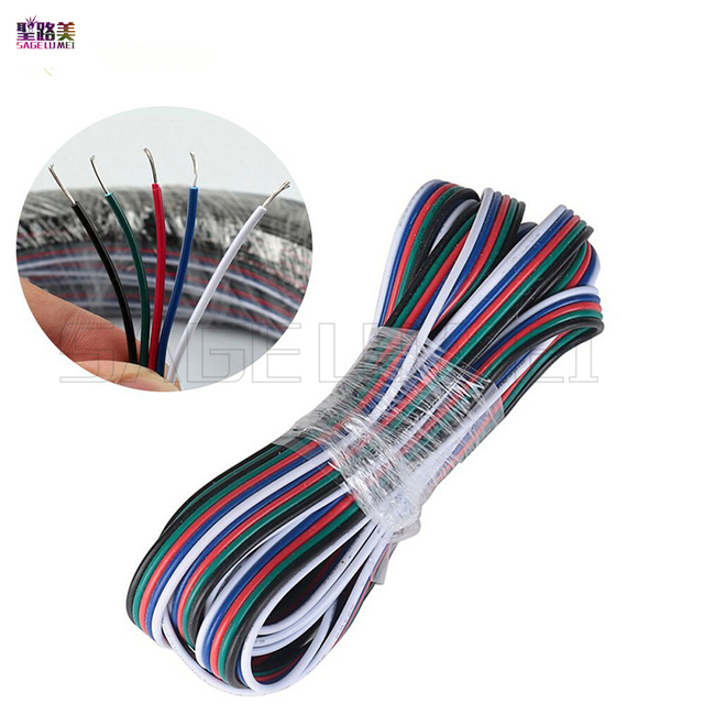 10 meters 5Pin Extension Electric Wire Cable Blue/White/Red/Green ...