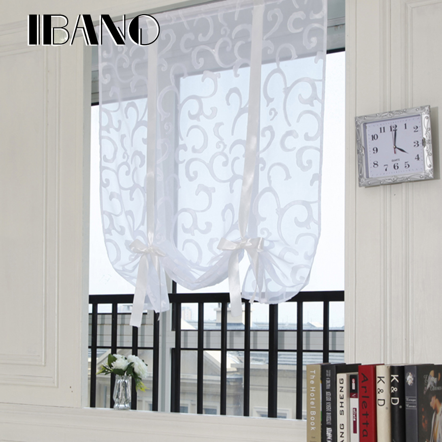 Roman Curtains Shade European Embroidered Style Tie Up Window Curtain Kitchen Curtain Voile