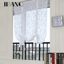 Roman Curtains Shade European Embroidered Style Tie Up Window Curtain Kitchen Voile Sheer Tab Top Brand Cortinas