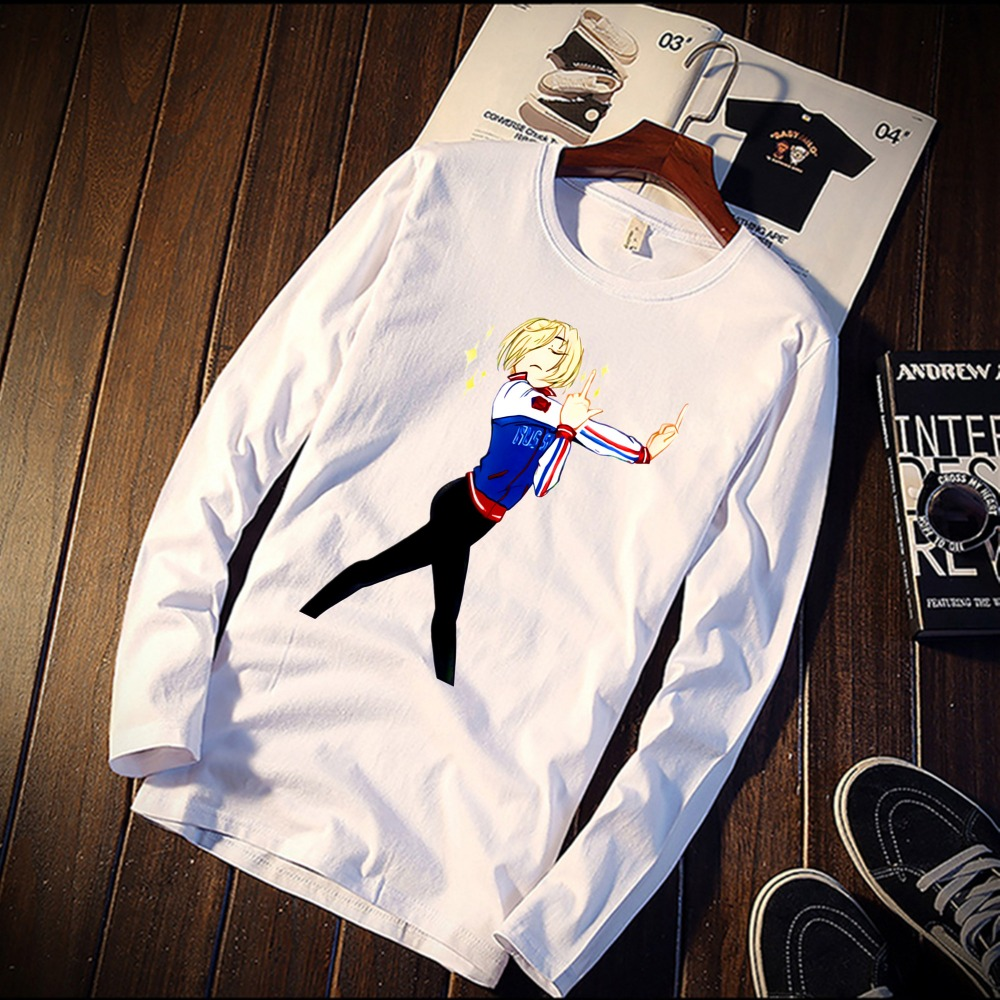 2018 Pure Cotton T-Shirt Yuri On Ice Watercolor Art Printed Long Sleeve Fashion Casual Tops & Tees Brand Unisex Clothing