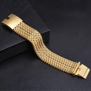 Image 3 - TrustyLan 30 MILLIMETRI di Larghezza 22 CENTIMETRI di Lunghezza Braccialetto degli uomini Non Tramonterà Mai di Colore Oro In Acciaio Inox di Spessore Braccialetto Uomini Braccialetti gioielli Bracciale
