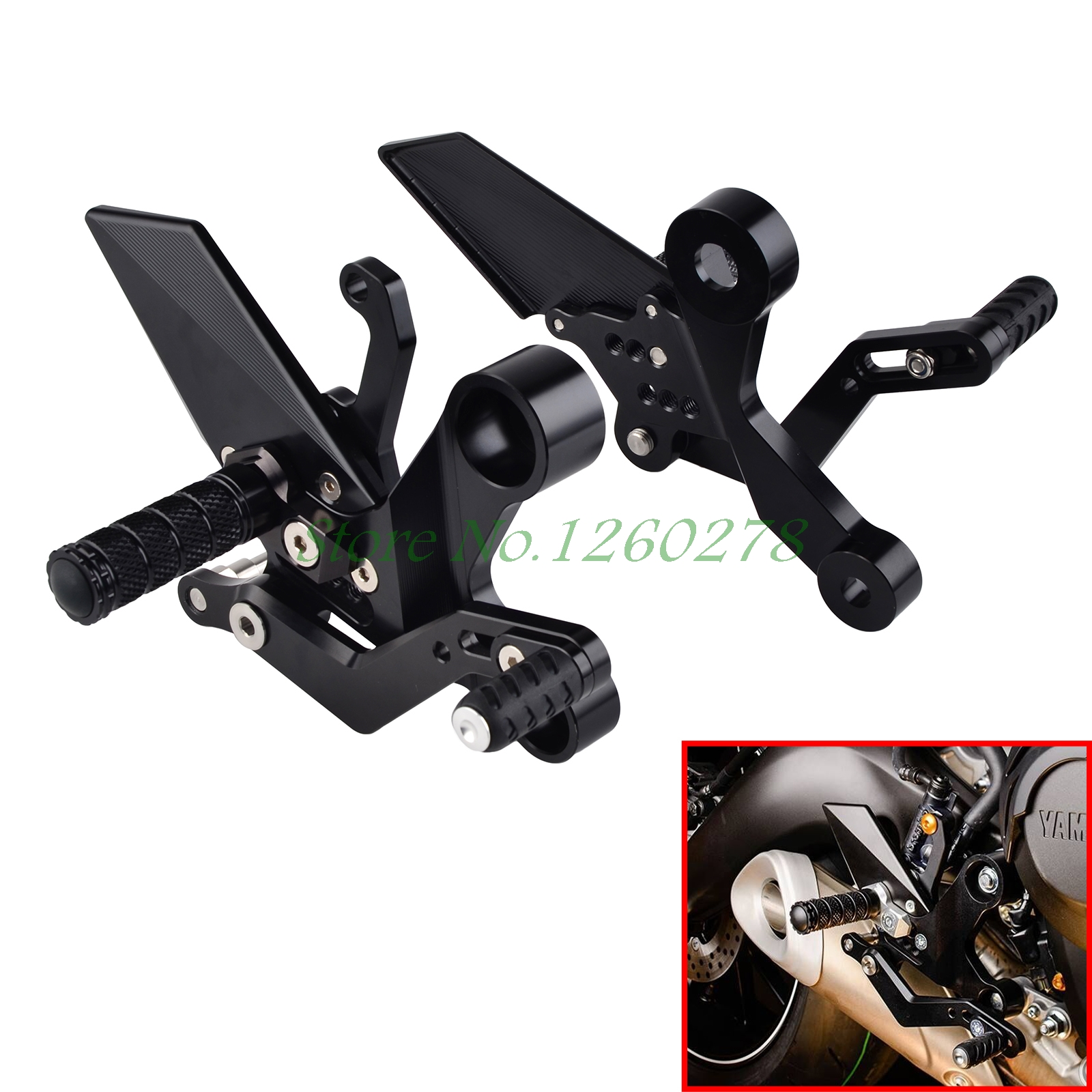 New CNC Billet Racing Adjustable Foldable Rearset Foot Pegs Rear Sets For Yamaha MT09 MT 09 2013 2014 2015 цена