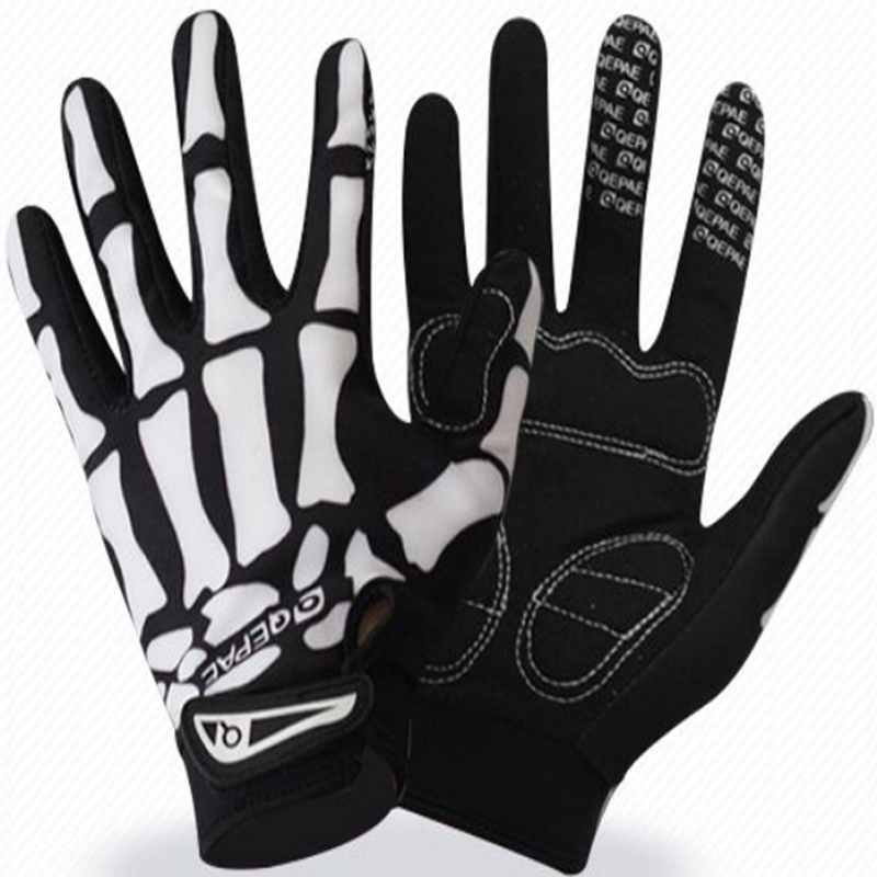 Qepae MTB Road Long Finger Outdoor Bicycle Breathable Sports Skull Cycling Gloves Half Finger Outdoor Bike Black Summer XL qepae f038 outdoor sports bicycle anti slip breathable half finger gloves black red l pair