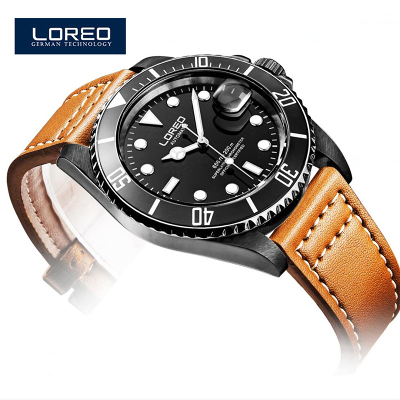 LOREO Relogio Masculino Luxury Brand Leather Strap Date Men'S Automatic Watch Casual Watch Men Wristwatch With Gift Box A03 fashion sewor men luxury brand auto date leather casual watch automatic mechanical wristwatch gift box relogio releges 2016 new