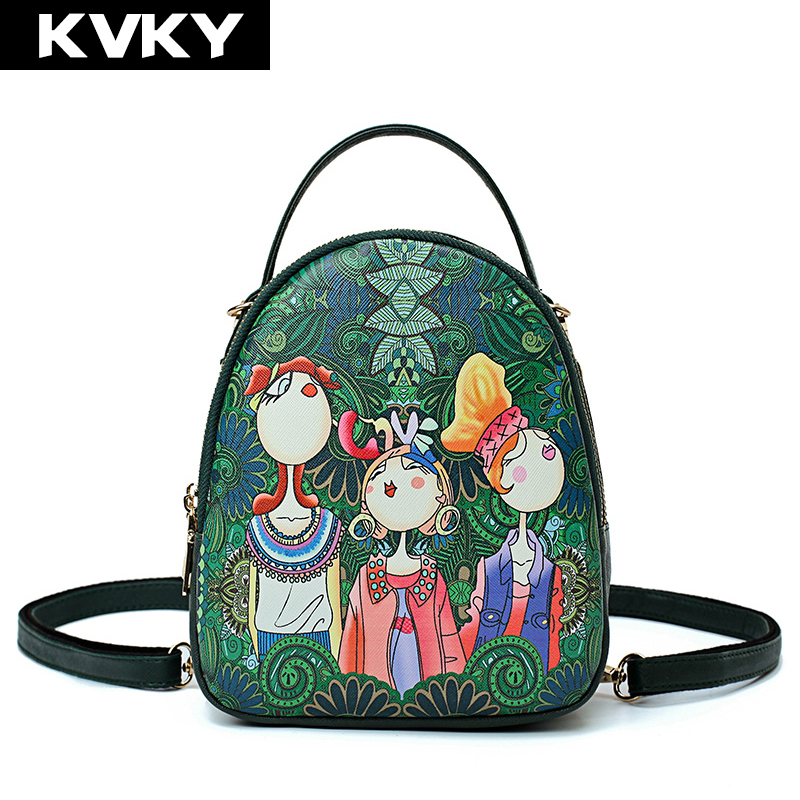 KVKY Brand Solid Mini Bags High Quality Leather Backpack Designer Printing Women School Bags For Teenagers Girls Female Backpack